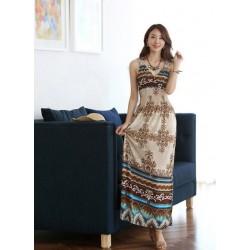 Vestido Feminino Longo Decote V Estampado