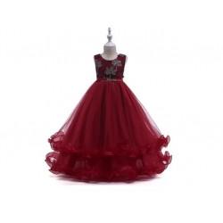 Vestido De Festa Longo Juvenil Casamento Florista Azul e Vermelho